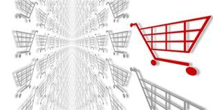 Carrelli di acquisto di commercio elettronico su bianco. Immagine Stock