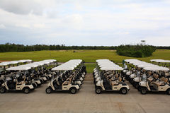 Carrelli di golf in un ricorso del Cancun Immagine Stock
