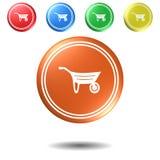 Carrello, bottone, illustrazione 3D Fotografie Stock Libere da Diritti
