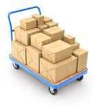 Carrello con i pacchetti della posta Fotografia Stock Libera da Diritti