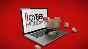 Carrello con le scatole sul computer portatile che visualizza il segno cyber di vendita di lunedì illustrazione vettoriale