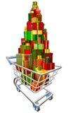 Carrello del carrello di acquisto con i lotti dei regali Immagini Stock Libere da Diritti