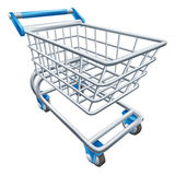 Carrello del carrello di acquisto del supermercato Fotografia Stock Libera da Diritti