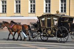 Carrello del cavallo, quadrato del palazzo, St Petersburg Fotografia Stock Libera da Diritti