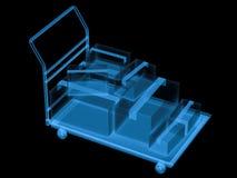 Carrello del raggio x con le scatole di stoccaggio Fotografia Stock Libera da Diritti