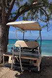 Carrello dell'oro sulla spiaggia all'hotel di ricorso tropicale dell'isola Immagini Stock Libere da Diritti
