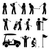 Carrello della gente dell'oscillazione del giocatore di golf di golf Immagine Stock Libera da Diritti