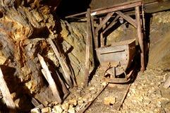Carrello della miniera in sotterraneo Fotografia Stock