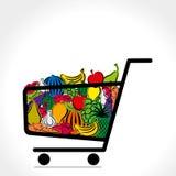 Carrello della verdura e della frutta Immagini Stock