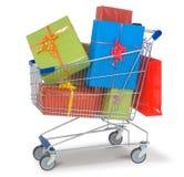 Carrello di acquisto con i regali Fotografia Stock Libera da Diritti