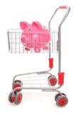 Carrello di acquisto con il porcellino salvadanaio Fotografia Stock
