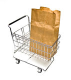 Carrello di acquisto con il sacchetto Fotografie Stock