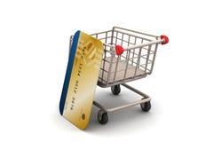 Carrello di acquisto con la carta di credito Fotografia Stock Libera da Diritti