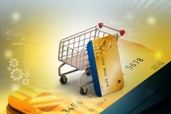 Carrello di acquisto con la carta di credito Fotografia Stock