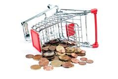 Carrello di acquisto con le monete V5 Fotografia Stock Libera da Diritti