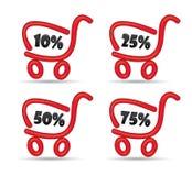 Carrello di acquisto con le offerte di vendita di sconto Immagini Stock