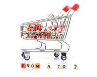 Carrello di acquisto, concetto di un intervallo dei prodotti completo Immagini Stock Libere da Diritti