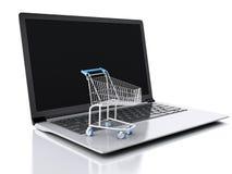 carrello di acquisto 3D Concetto online di acquisto Fotografia Stock
