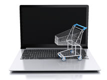 carrello di acquisto 3D Concetto online di acquisto Fotografia Stock Libera da Diritti
