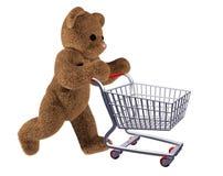 Carrello di acquisto dell'orsacchiotto Fotografie Stock Libere da Diritti