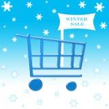 Carrello di acquisto di vendita di inverno Fotografia Stock Libera da Diritti