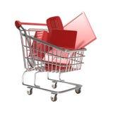 Carrello di acquisto isolato con il concetto di tecnologia Immagini Stock Libere da Diritti