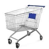 Carrello di acquisto isolato su priorità bassa bianca immagine stock libera da diritti
