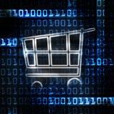 Carrello di acquisto in linea e codice binario Fotografia Stock Libera da Diritti