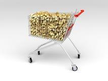 Carrello di acquisto in pieno dei dollari Immagine Stock
