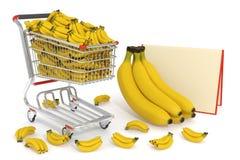 Carrello di acquisto in pieno delle banane Immagini Stock Libere da Diritti