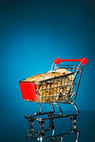 Carrello di acquisto in pieno di soldi Fotografia Stock