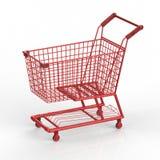 Carrello di acquisto rosso Immagini Stock