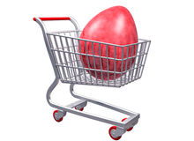Carrello di acquisto stilizzato con l'uovo gigante Fotografie Stock
