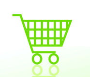 Carrello di acquisto verde Fotografia Stock Libera da Diritti