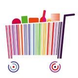 Carrello di codice a barre Fotografie Stock Libere da Diritti