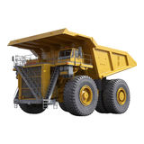 Carrello di miniera giallo pesante su bianco illustrazione 3D Immagini Stock Libere da Diritti