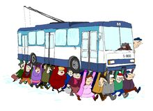 Carrello di trasporto della gente Fotografia Stock Libera da Diritti