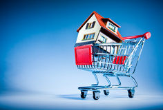 Carrello e casa di acquisto Fotografia Stock Libera da Diritti