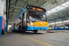 Carrello e deposito ed officina di bus Immagini Stock
