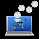 Carrello e soldi sullo schermo del computer portatile Fotografia Stock Libera da Diritti