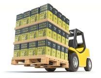 Carrello elevatore con le latte dell'olio d'oliva illustrazione di stock