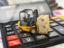 Carrello elevatore con le scatole di cartone sul calcolatore illustrazione di stock