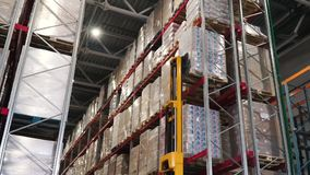 Carrello elevatore in fabbrica clip Concetto logistico, di carico, della spedizione e della gente all'ingrosso - uomo con il cari archivi video