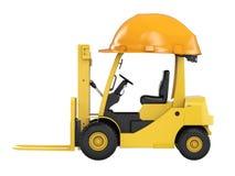 Carrello elevatore a forcale con il casco giallo Fotografia Stock