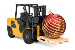 Carrello elevatore a forcale con la palla di Natale, il deliv di Natale e del nuovo anno illustrazione di stock