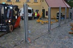 Carrello elevatore nel centro di Praga Immagine Stock Libera da Diritti