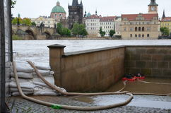 Carrello elevatore nel centro di Praga Fotografia Stock