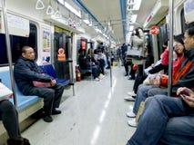 Carrello interno della metropolitana il 6 febbraio a Taipeh Immagini Stock Libere da Diritti