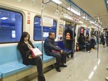 Carrello interno della metropolitana il 6 febbraio a Taipeh Fotografia Stock Libera da Diritti