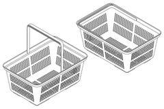 Carrello nella vista isometrica Illustrazione isolata di contorno di vettore illustrazione di stock